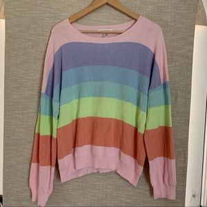 Honey Punch Rainbow Stripe Sweater Sz. L